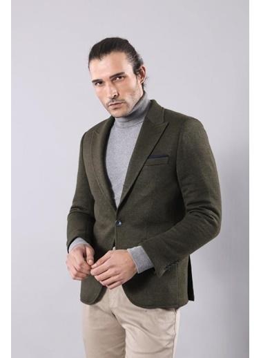 Wessi Erkek Kendinden Desenli Sivri Yaka Slim Fit Ceket Yeşil
